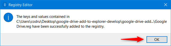 The Google Drive registry keys have been added to Windows Registry