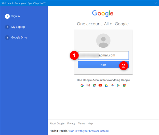 Enter your Google Account email address