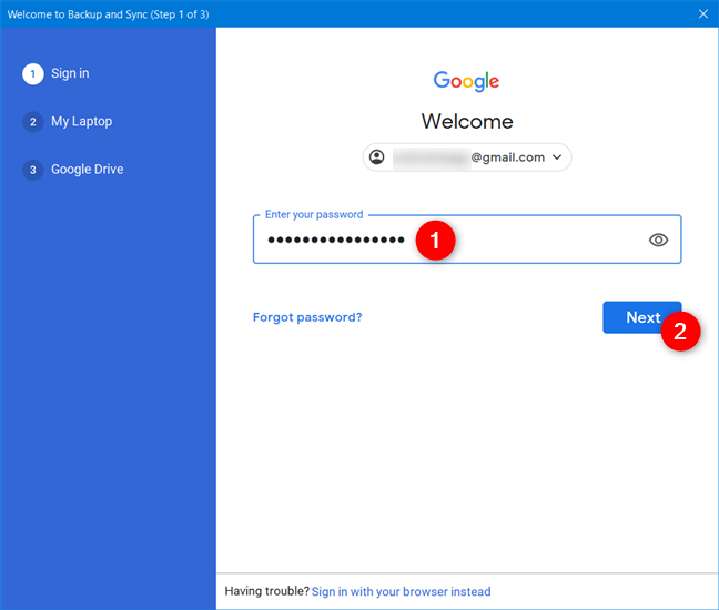 Enter the password for your Google Account