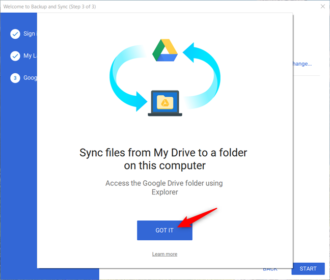 Step 3 of Backup and Sync starts
