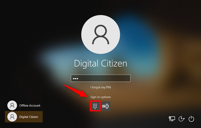 Windows 10 sign-in options: Selecting PIN