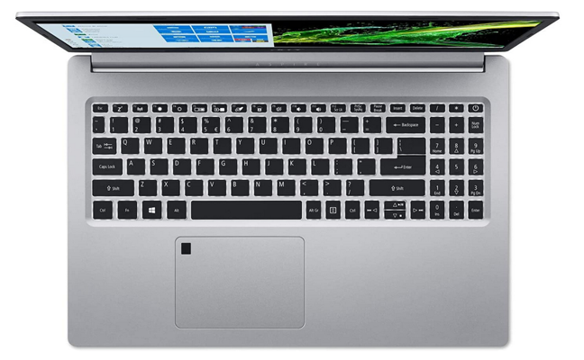 A laptop with a fingerprint reader