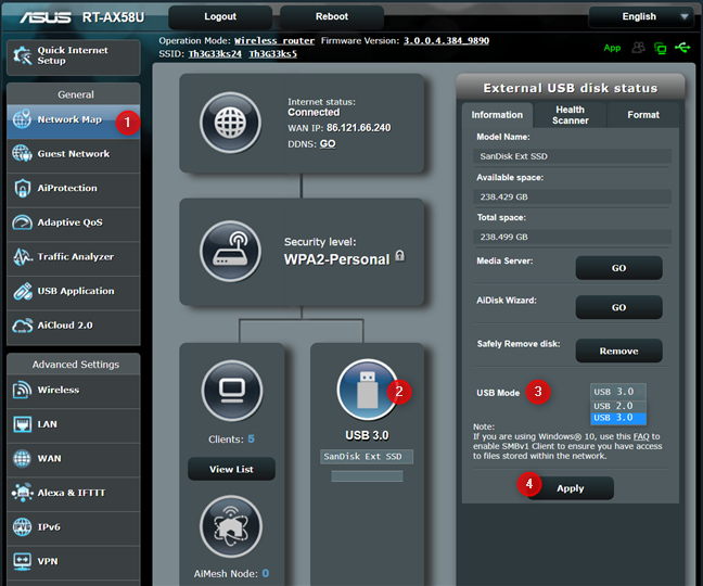Configure the USB Mode on your ASUS router
