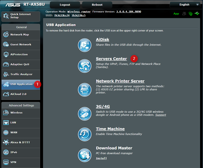 Access the Servers Center on your ASUS router