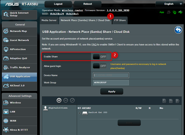 Enable USB network sharing on your ASUS router