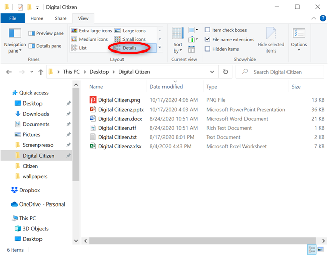 See everything about your files with the Details view