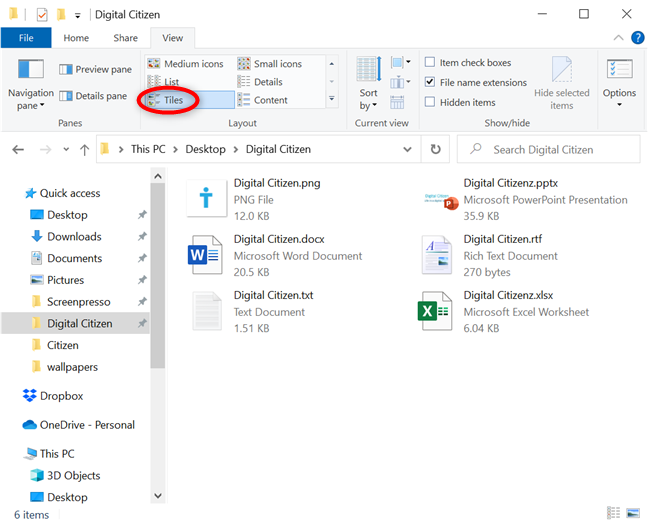 Get basic information about your files with the Tiles view
