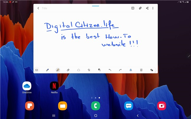 Handwriting on the Samsung Galaxy Tab S7+ with the S Pen