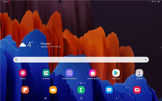 The homescreen of the Samsung Galaxy Tab S7+