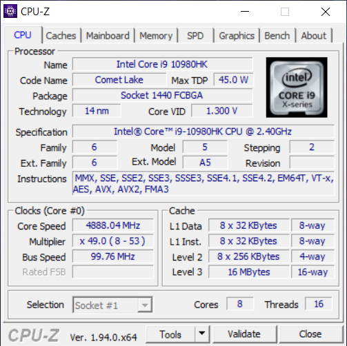 Processor information from CPU-Z