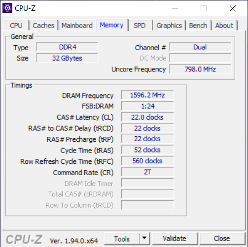 Details about the RAM, from CPU-Z