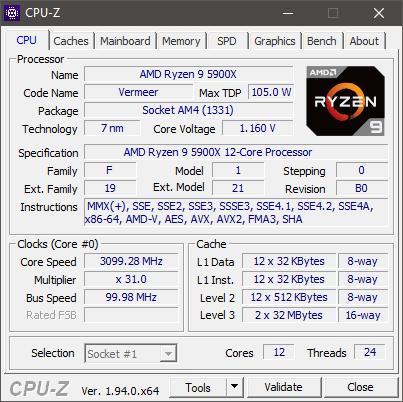 AMD Ryzen 9 5900X: Specifications shown by CPU-Z