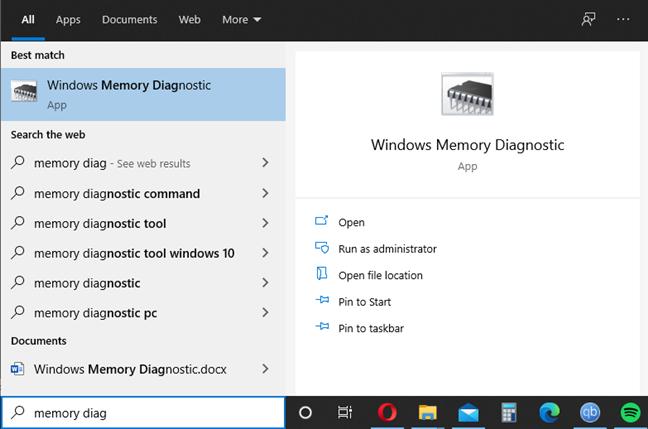 Start Windows Memory Diagnostic using search in Windows 10