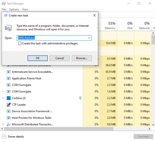 Run MdSched.exe from Task Manager