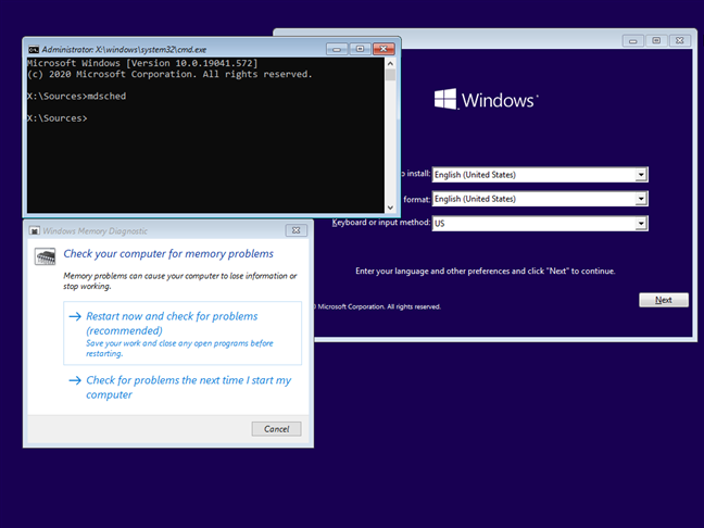 Run Windows Memory Diagnostic from the Windows 10 setup