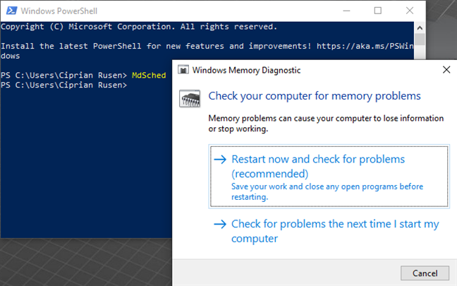 Start Windows Memory Diagnostic from PowerShell