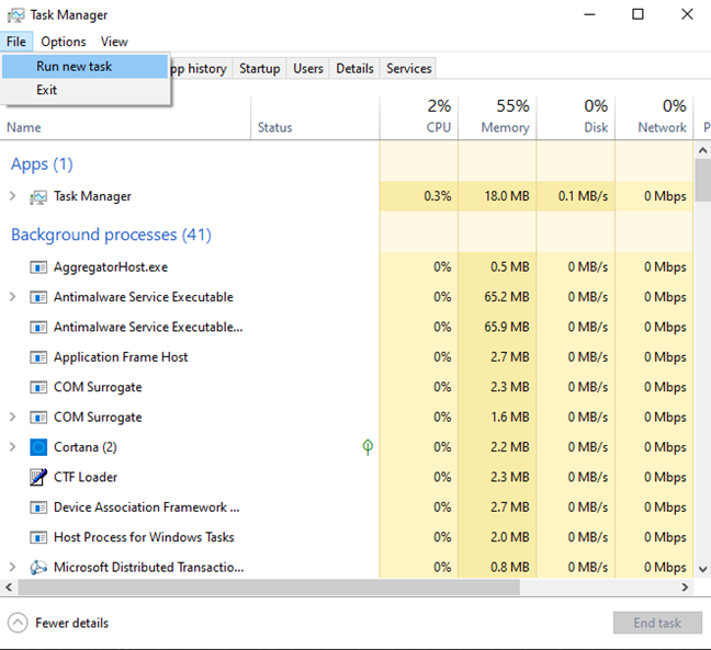 Run a new task from Task Manager