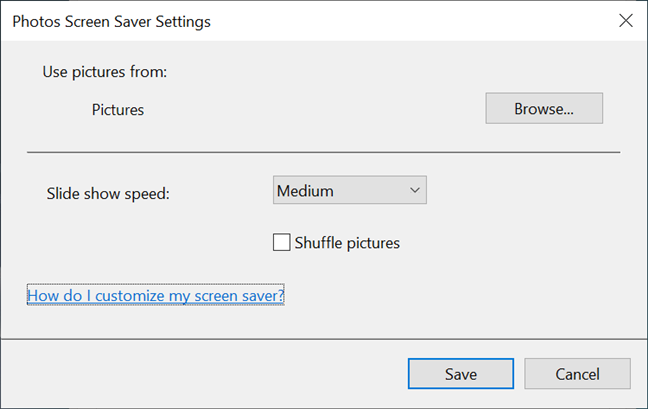 Choose the screen saver images that are shown and the Slide show details