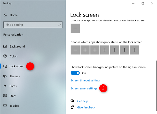 Access the Screen saver settings link from the Lock screen tab