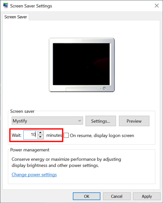 Set how long until the screen saver starts in Windows 10