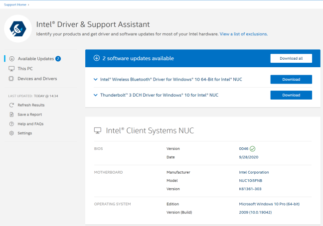 You should use the Intel Driver & Support Assistant