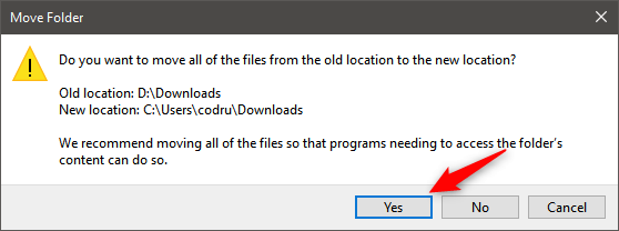 Choosing to move the files from the old location to the default Downloads location