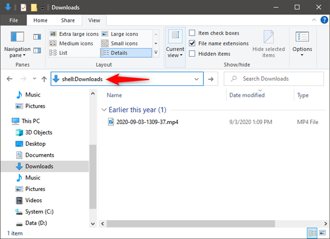 shell:Downloads takes you to your Downloads folder in Windows 10