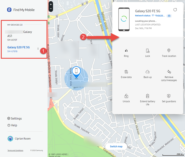 Using Samsung's Find My Mobile portal