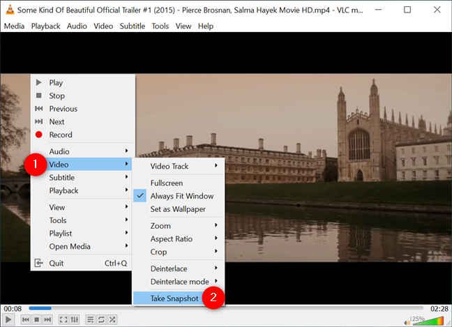 The VLC Take Snapshot option is also available from the contextual menu
