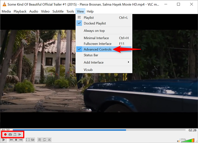 Display Advanced Controls in Windows to take a VLC snapshot