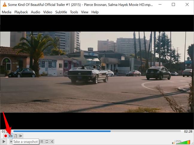 Use the Take a snapshot button to take VLC screenshots