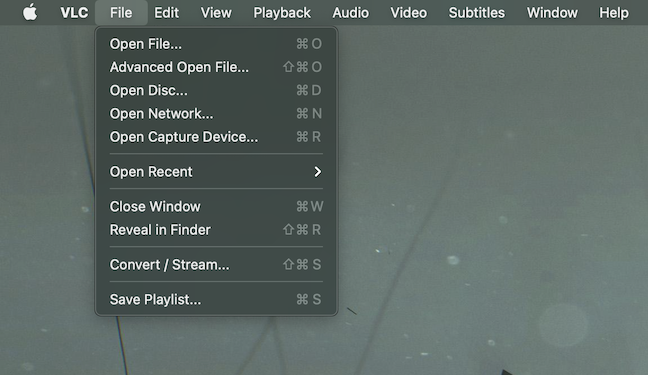 The VLC macOS menu is a bit different from the Windows one