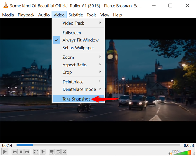 The VLC Take Snapshot option in the Video menu