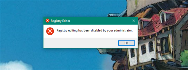 Registry Editor has been disabled by your administrator