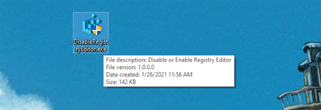 The DisableRegistryEditor.exe file made by Digital Citizen