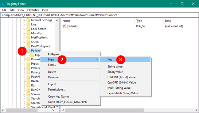 Creating a new key in Windows Registry