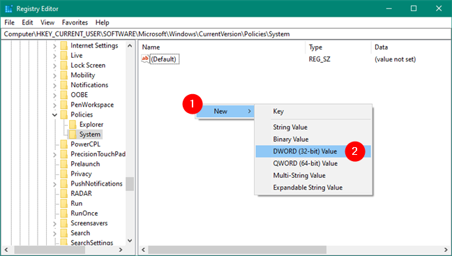 Creating a new DWORD (32-bit) Value in Registry Editor