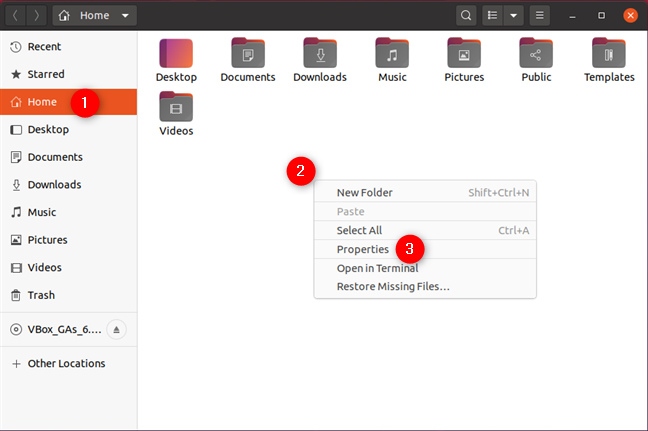 Opening Properties of a folder in Ubuntu Linux
