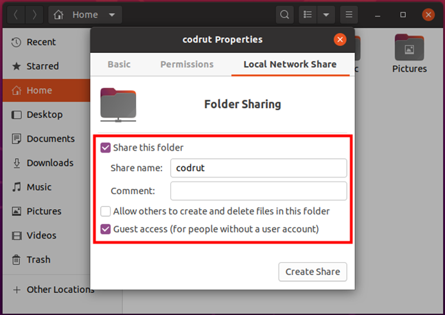 Configuring how the folder is shared in Ubuntu Linux