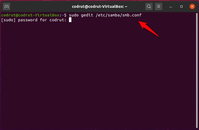 Running sudo gedit /etc/samba/smb.conf in Ubuntu Linux