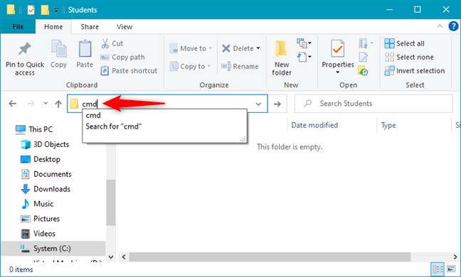 Opening cmd inside a folder using File Explorer