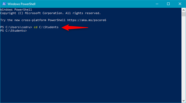 Switching to a different folder using PowerShell