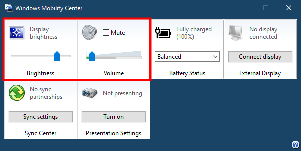 Windows Mobility Center in Windows 10: Brightness and Volume
