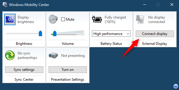 Connect a display via Windows Mobility Center in Windows 10
