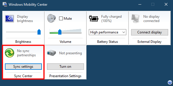 Opening the Sync Center from Windows Mobility Center in Windows 10