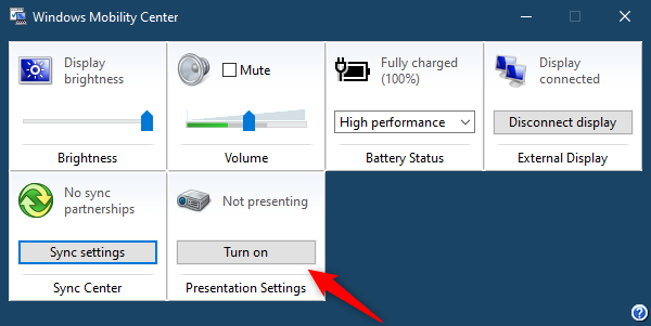 The Presentation Settings from Windows Mobility Center