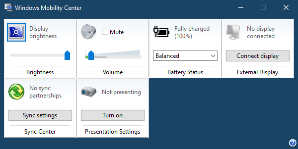 Windows Mobility Center in Windows 10