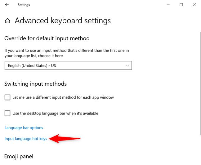 Click or tap on Input language hot keys