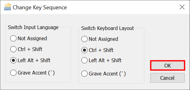 Switch the keyboard language shortcut to another option and press OK