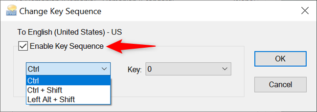 Check Enable Key Sequence to set a keyboard shortcut